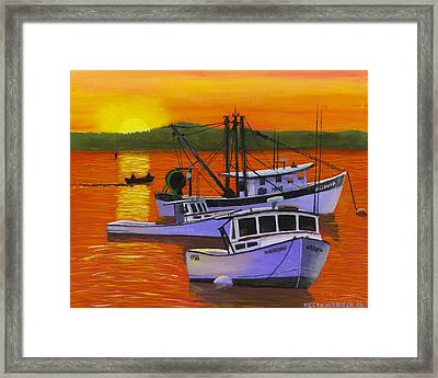 Maine Fishing Boats At Sunset Port Clyde Painting Framed Print