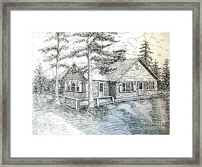 Framed Print featuring the drawing Maine House by Gretchen Allen