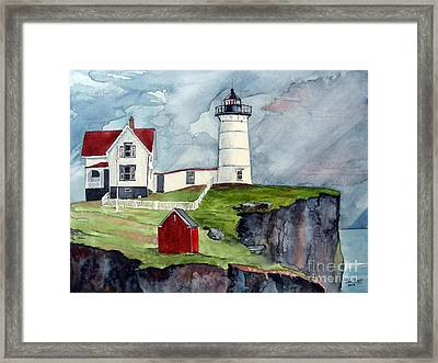 Framed Print featuring the painting Maine Lighthouse by Tom Riggs