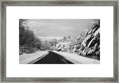 Maine Winter Backroad - One Lane Bridge Framed Print