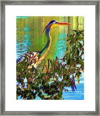 Majestic Crane Framed Print by Elinor Mavor