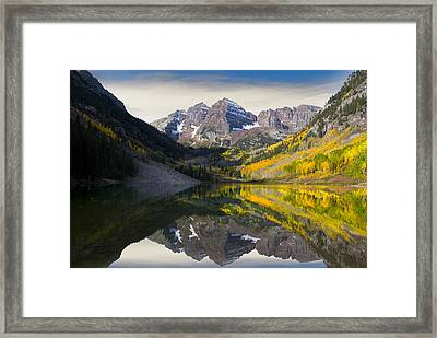 Majestic Maroon Bells Framed Print by Tim Reaves