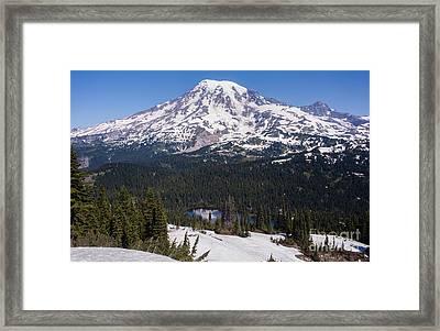 Majestic Rainier Reflected Framed Print by Mike Reid