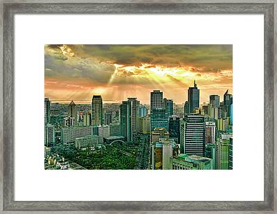Makati City Skyline Framed Print