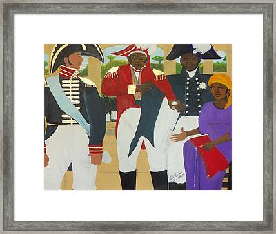 Making Of The Haitian Flag Framed Print by Nicole Jean-Louis