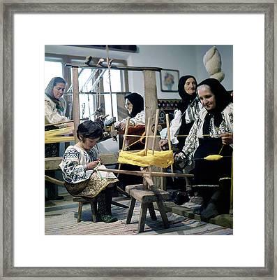 Making Wool Clothing In Vrancea Romania Framed Print