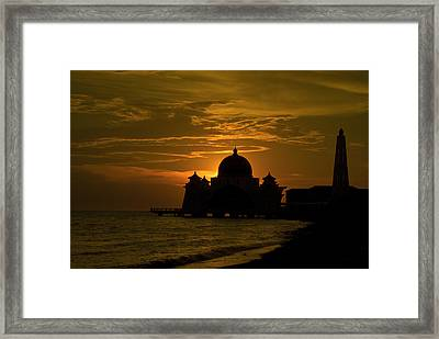 Malacca Straits Mosque Framed Print by Ng Hock How