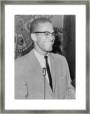 Malcolm X 1925-1965 Speaking In 1964 Framed Print
