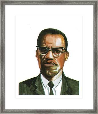 Malcolm X Framed Print by Emmanuel Baliyanga