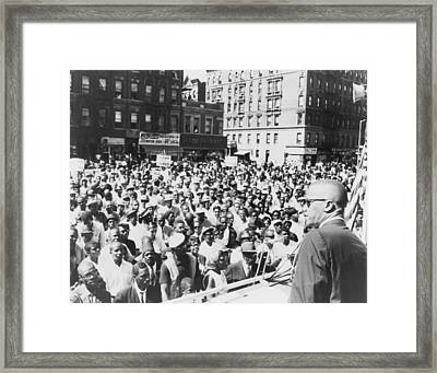 Malcolm X, Speaking To An Outdoor Rally Framed Print by Everett
