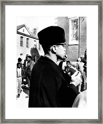 Malcolm X Visits The Voting Rights Framed Print