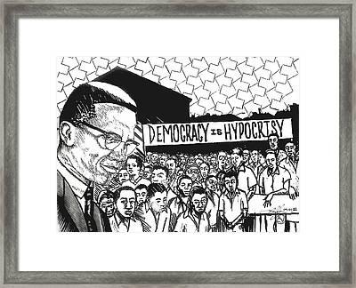 Malcom In Progress Framed Print by Malik Seneferu