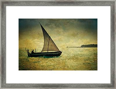Maldivian Poetry. Dhoni Boat Framed Print by Jenny Rainbow