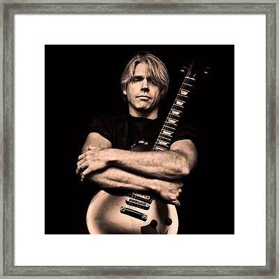 Male Guitarist Framed Print by Trudy Wilkerson