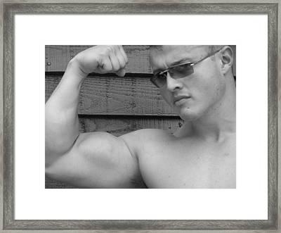 Male Muscle Art  Poser Framed Print by Jake Hartz