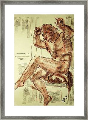 Male Nude Figure Drawing Sketch With Power Dynamics Struggle Angst Fear And Trepidation In Charcoal Framed Print
