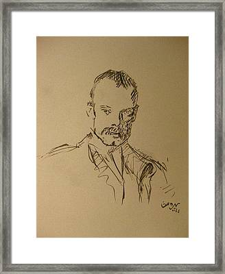 Framed Print featuring the painting Male Portrait Sketch As A Tribute To Jss by M Zimmerman