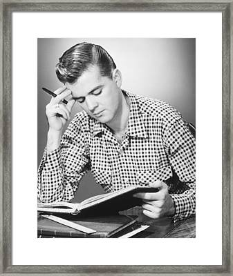 Male Student Reading, (b&w), Framed Print by George Marks