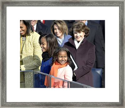 Malia And Sasha Obama At Their Fathers Framed Print by Everett