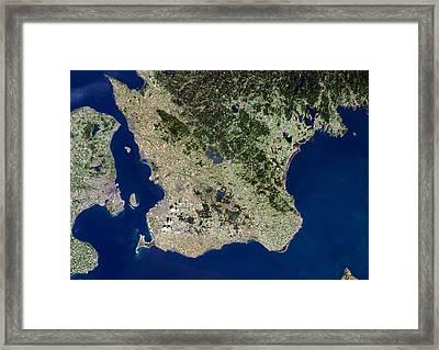 Malmo, Satellite Image Framed Print by Planetobserver
