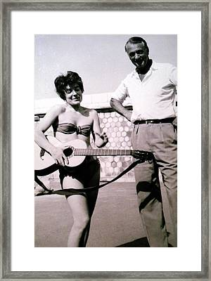 Mama Chris And Gary Cooper In Monte Carlo 1958 Framed Print