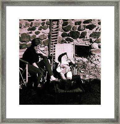 Mamma Chris And Colette Having A Well Deserved Rest  Siesta In The Garden In Alba France  Framed Print by Colette V Hera  Guggenheim