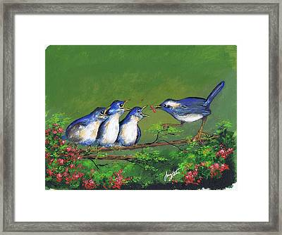 Mamma Feeding Kids Framed Print