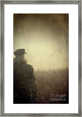 Man Alone In Autumn Field Framed Print