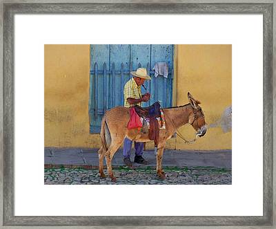 Framed Print featuring the photograph Man And A Donkey by Lynn Bolt