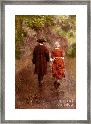 Man And Woman In 18th Century Clothing Walking Framed Print