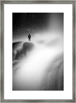 Man At Waterfall Framed Print by Micael  Carlsson