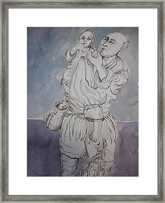 Man Carrying A Child Framed Print by Aleksandra Buha