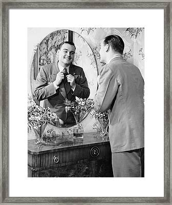Man Checking Himself Out In Mirror Framed Print by George Marks