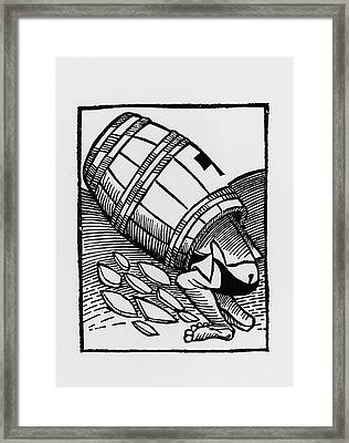 Man Collecting Tartar From A Empty Wine Barrel Framed Print by