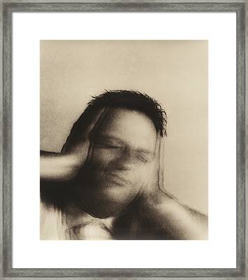 Man Covering Ears Framed Print by Cristina Pedrazzini