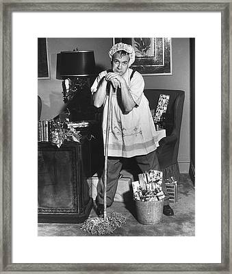 Man Dressed As Cleaning Woman In Office Framed Print by George Marks