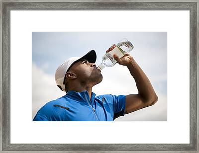 Man Drinking Bottled Water Framed Print by