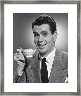 Man Drinking Coffee Framed Print