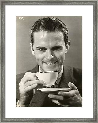 Man Drinking Cup Of Coffee Framed Print by George Marks