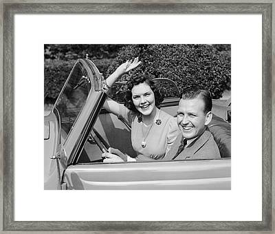 Man Driving Car And Woman Waving Framed Print by George Marks