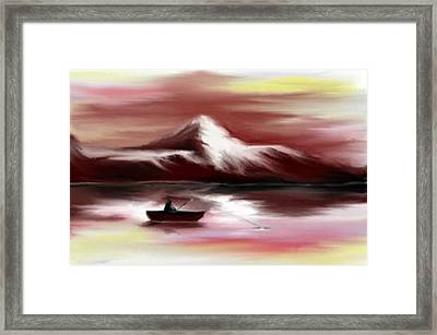 Man Fishing Framed Print by Angela Stout