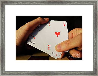 Man Holding Four Aces Cards In Hand Framed Print by Sami Sarkis