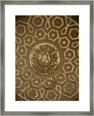 Man Hole Cover For Ma Bell Framed Print by Kym Backland