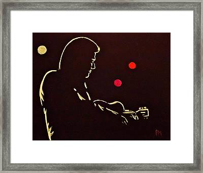 Man In Backlit Framed Print by Pete Maier