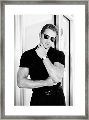 Man In Black Bw Palm Springs Framed Print