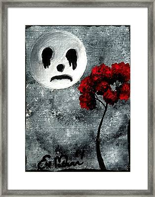 Framed Print featuring the painting Man In The Moon by Oddball Art Co by Lizzy Love