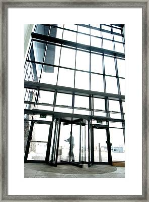 Man Leaving Office Framed Print by Crown Copyrighthealth & Safety Laboratory
