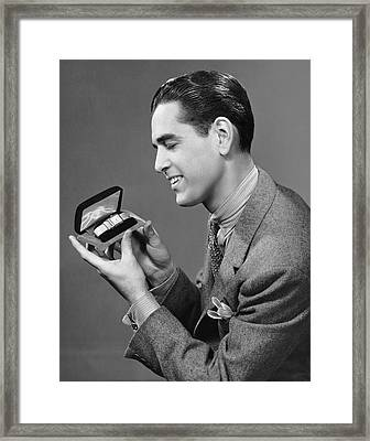 Man Looking At Watch In Box Framed Print by George Marks