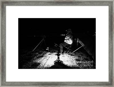 Man Nighttime Fishing Framed Print by Joe Fox
