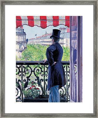 Man On A Balcony On Boulevard Haussmann Framed Print by Gustave Caillebotte